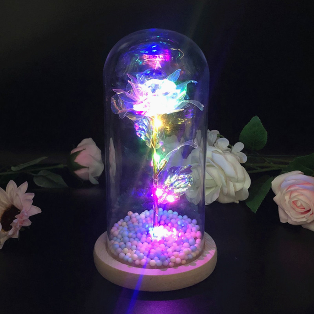 LED Rose Lamps Fairy Light Beauty And The Beast Red Rose In A Glass Dome On A Wooden Base For Valentine's Gifts Christmas Light