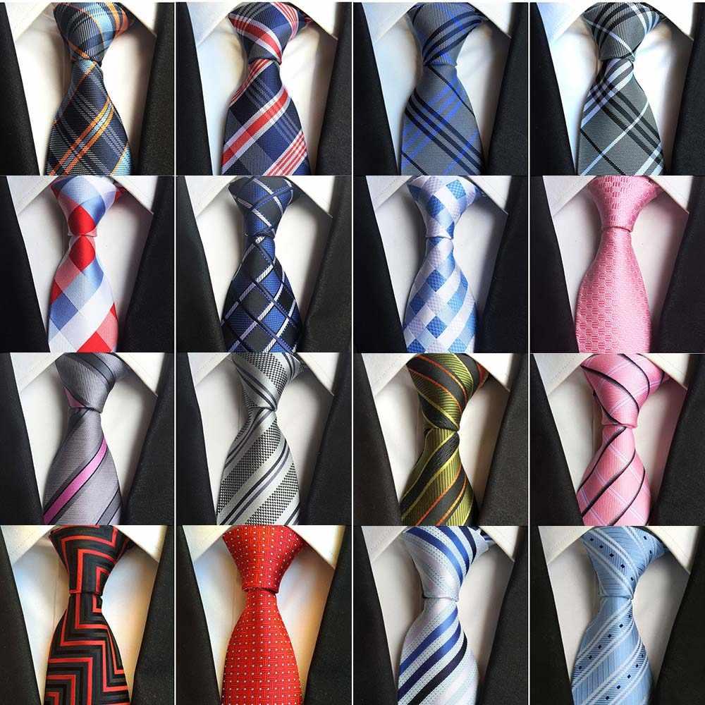 Yeni klasik ipek erkek bağları boyun bağları 8cm ekose çizgili kravatlar erkekler için resmi iş lüks düğün parti kravat Gravatas
