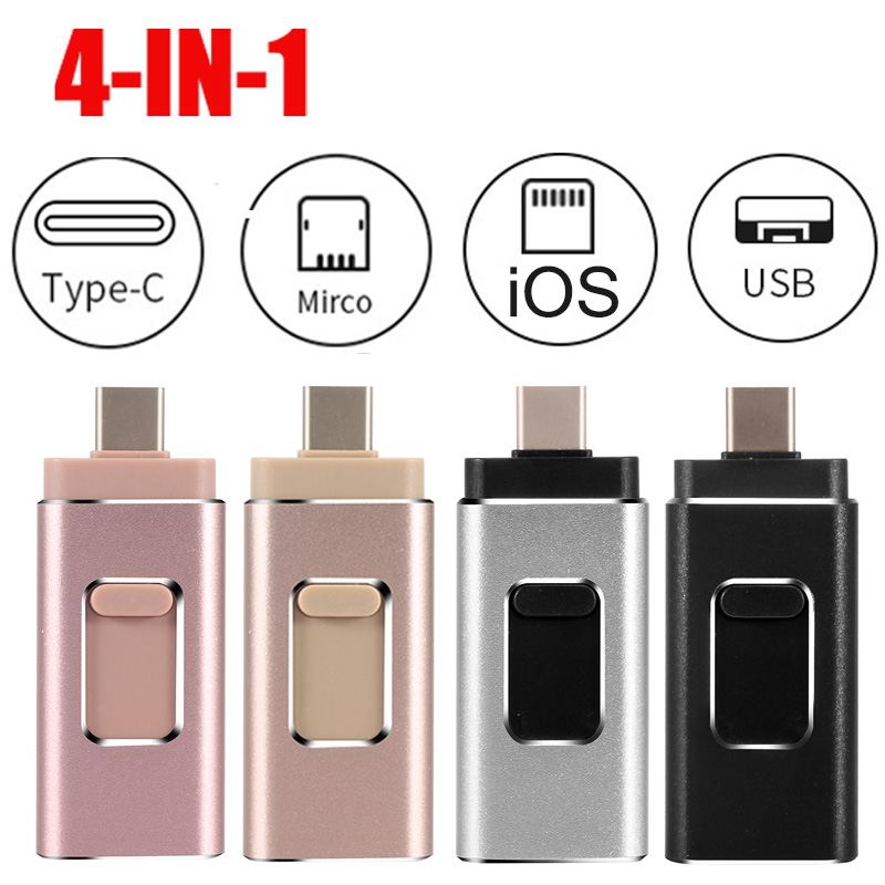 Usb Flash Drive 16gb 32gb 64gb 128gb Pendrive USB-C Type C Smartphone DIY LOGO Micro USB Otg Memory Stick For Iphone Ios Phone