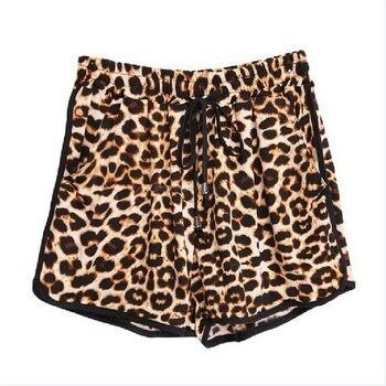 Leopard Lace Up High Waist Cotton  Beach Shorts 4