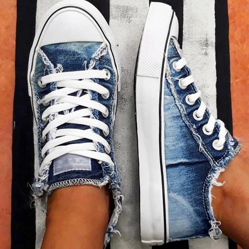 Flat Canvas Women Casual Shoes Lace-up Denim 2020 Summer Vulcanize Shoes Low-top Plus Size Women Sneakers Zapatos Mujer VT1221 (1)