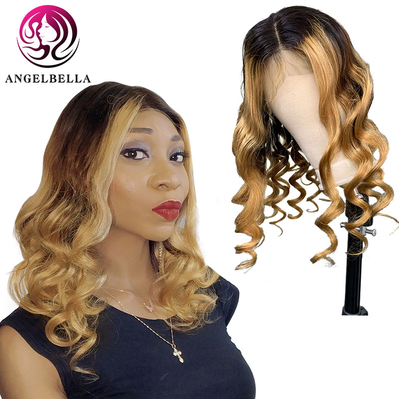 Angelbella 100% Brazilian <font><b>10A</b></font> Front Lace Human <font><b>Hair</b></font> <font><b>Wigs</b></font> 1b/27# Ombre Wavy 20 inch Remy <font><b>Hair</b></font> Loose Wave Lace Front <font><b>Wig</b></font> image