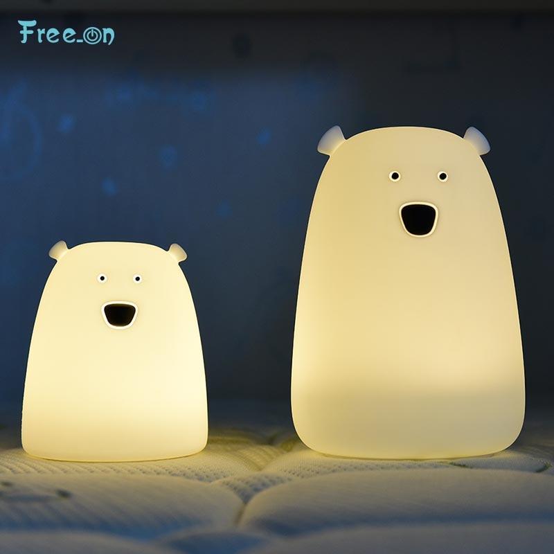 Cute Bear LED Night Light Decoracion Dormitorio For Children Baby Kids Bedside Lamp Multicolor Silicone Touch Sensor Tap Control