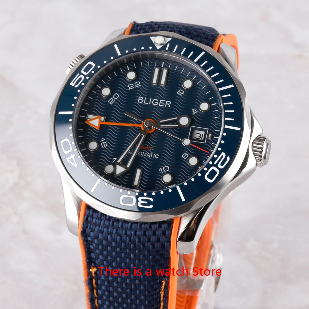 Bliger 41mm Automatic Mechanical Men Watch GMT Movement Luxury Luminous Waterproof Calendar Sapphire Glass Wristwatch Men