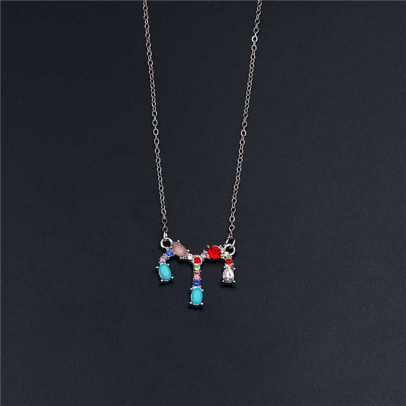 12 Constellation Crystal Pendant Necklace Femme Silver Plating Inlaid Rhinestone Accessories Jewelry Women's Birthday Present