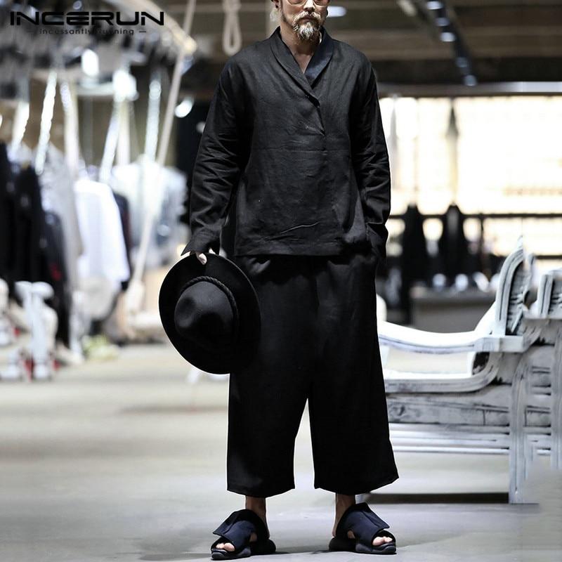 INCERUN Vintage Men Sets Solid Color Lapel Long Sleeve Casual Shirts Pockets Drawstring Pants Streetwear Chic Men Suits 2 Pieces