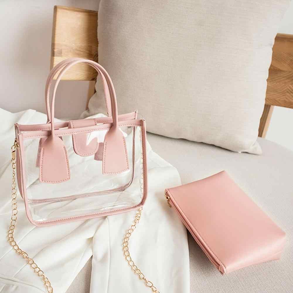 Fashion Jelly Tas Selempang untuk Wanita Pengait Cover Crossbody Tas + Dompet Tangan Tas Set Ponsel Koin Tas