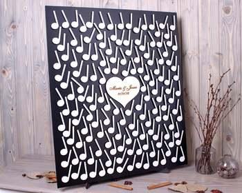 Custom Wedding Guest Book Alternative 3D Music Note Guestbook for Musicians Wedding Guest Book Music Theme Birthday Anniversary