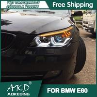 Dla samochodów BMW E60 reflektory 2003-2010 DRL światła do jazdy dziennej LED Bi Xenon żarówki samochodowe światła przeciwmgielne akcesoria 520i 523i 530i lampa czołowa