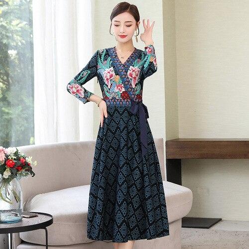 2019 Autumn New Style National Style Dress Elegant V-neck Waist Hugging Slimming Mid-length Elegant Goddess Fan Children