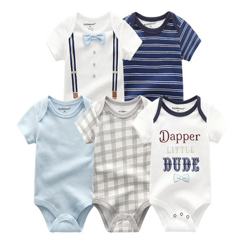 5Pcs/lots Baby rompers Cotton Infant Body Short Sleeve Clothing baby Jumpsuit Cartoon Printed Baby Boy Girl clothes