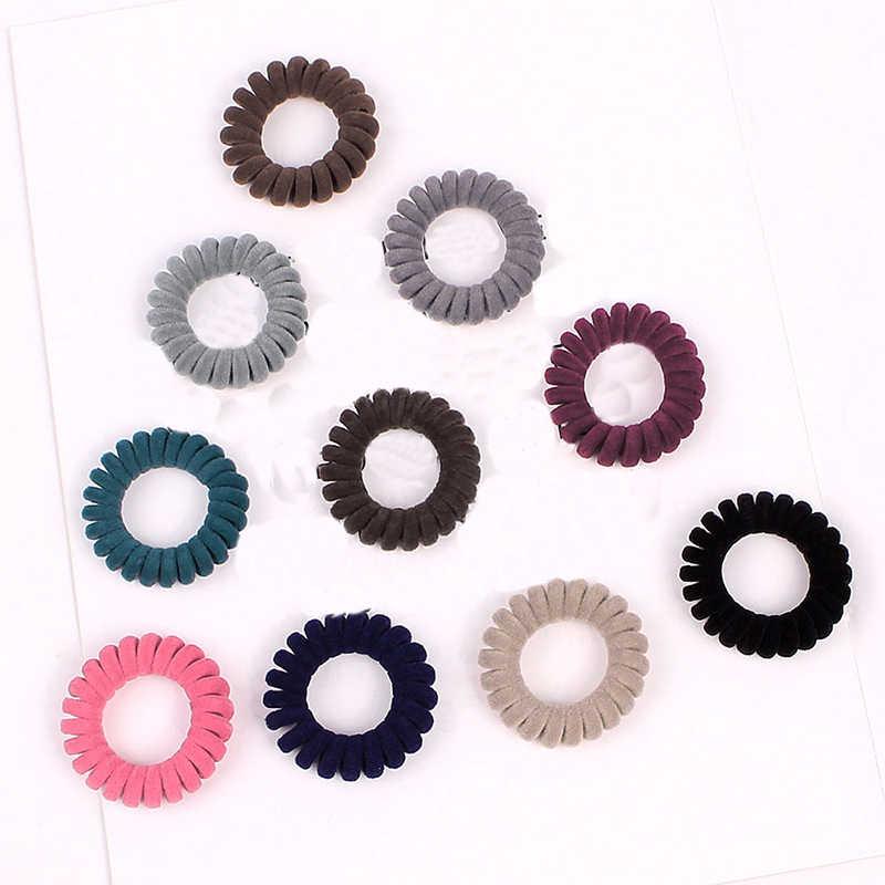 1PC flanelle tissu téléphone fil anneau de cheveux spirale élastique cheveux bandes de caoutchouc couleur bonbon femmes cheveux accessoires filles chapeaux