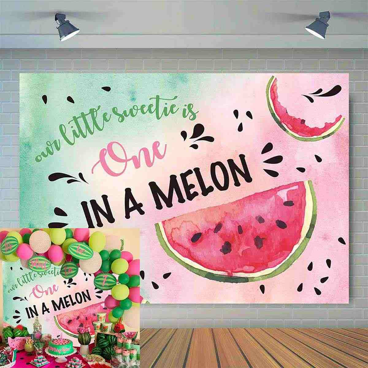 Watermelon Backdrop for Photography One in a Melon Newborn Backdrops Summer Background Baby Shower Photo Booth Props Cake Table Decor