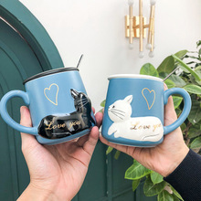 Cat Ceramic Coffee Cup and Mugs with Lid and Spoon Cartoon Heat-resistant Couple Cup Student Breakfast Milk Mug Drinkware Gift