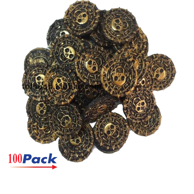 Freeship 100x plastic pirates treasure antitque gold AZTEC coins prop toy for Halloween birthday party cosplay kids favor prizes