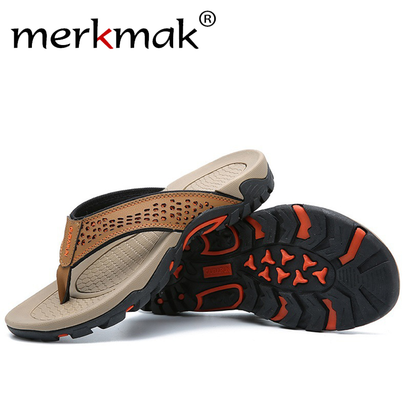 Merkmak Summer Sandals Male Beach Shoes Leather Sandals Dual Use Leisure Flip Flop Men Beach Sandals Man Fashion Casual Slipper