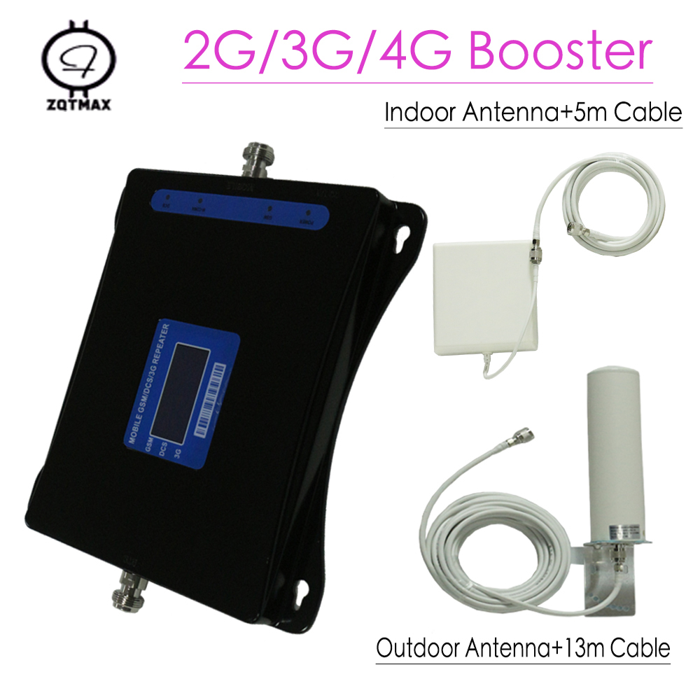 ZQTMAX 2G 3G 4G Cellular Signal Amplifier 900 1800 2100 Mobile   Signal Booster Dcs Gsm Repeater With Cable Antenna Set