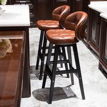 Taburete minimalista de madera solida para Bar, taburete moderno, creativo, , para el hogar