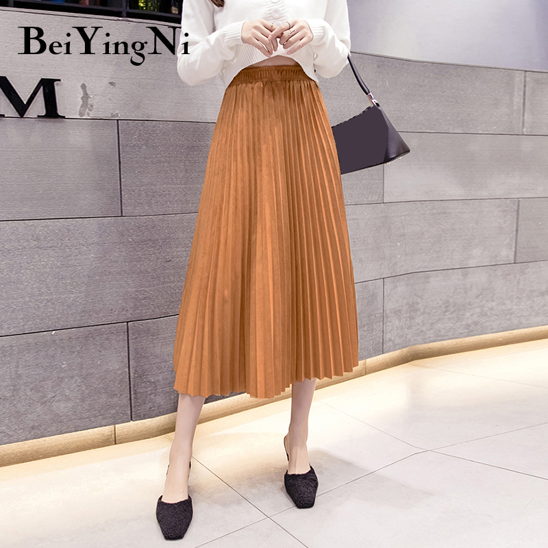 Beiyingni Multi Color Suede Midi Pleated Skirts Womens Fashion High Waist 2019 Autumn Winter Skirt Lady Vintage Chic Work Skirt