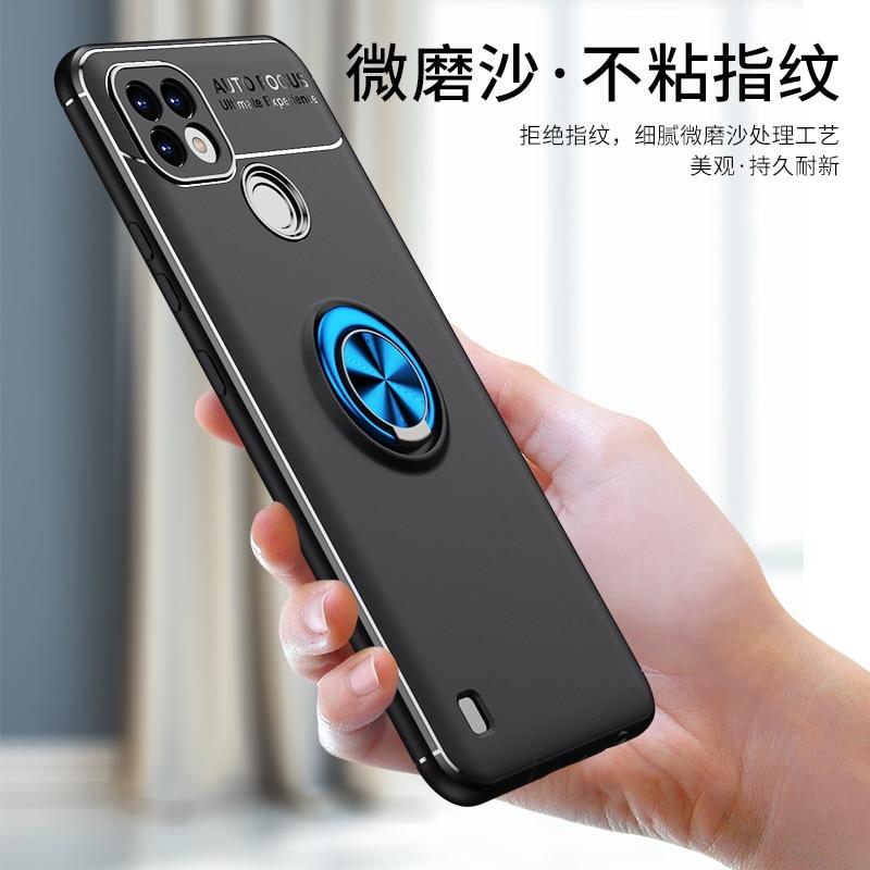 Чехол для Realme C21, чехол 360 дюйма с магнитным металлическим кольцом, задняя крышка для Realme C21, мягкий ударопрочный чехол из ТПУ с полным покрыти...
