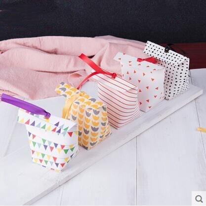 10 pièces petit cadeau doux boîte papier bonbons sac avec ruban de mariage invité cadeau boîte à biscuits Birtdhay sacs de fête