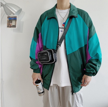 Rack Jacket Men's Fashion Hit Color Casual Baseball Uniform Jackets Mens Streetwear Wild Loose Hip Hop Bomber Jacket Men