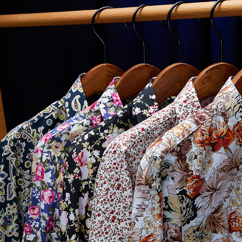 2020 New Shirt Autumn Men's Floral Printed Shirts Male Slim Fit Long Sleeve Shirts Men Flower Print Shirt M-5XL