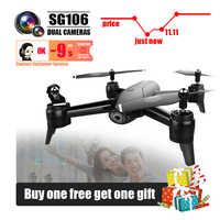 Sg106 drones con cámara hd rc helicóptero drone 4k juguetes quadcopter drohne quadrocopter pieza de helikopter selfie de control remoto