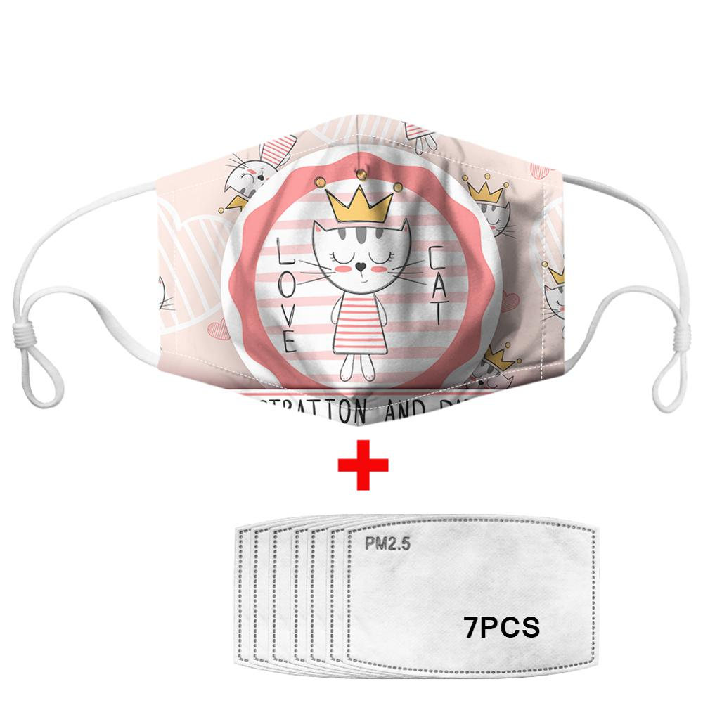 Kawaii Cute Cat Printed Masks Face Mouth Cover Anti Haze With 7pcs PM 2.5 Filters Paper Elastic Kids Mascarilla