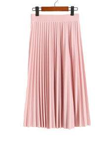 Elastic-Skirt Spring Pleated Black Pink Autumn High-Waist Solid-Color Women's Lady New-Fashion