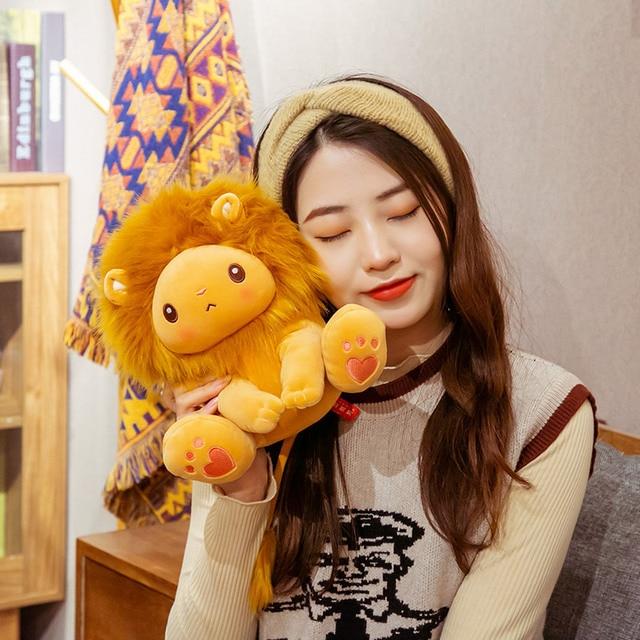 25/40cm Golden Adorable Lion Toy Plush Stuffed Sitting Lions Little Zoo Animal Cute Cartoon Plushie Children Appeasing Gift 2
