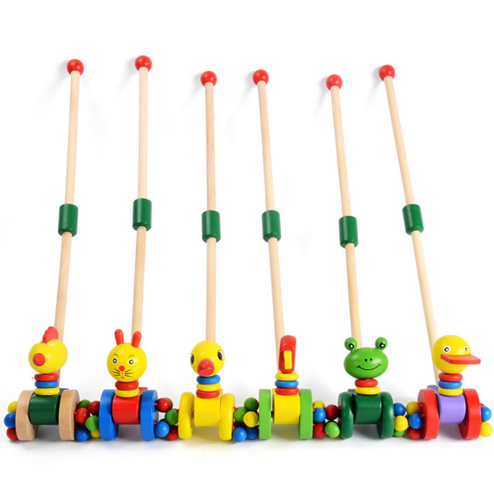 Wooden Push Along Animals Montessori Baby Toy Kids Walking Training Tool Preschool Early Educational Toys For Children Gifts