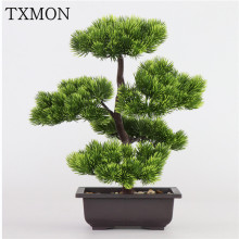 Simulation pine needles cypress plants bonsai fake flower artificial plants pots interior home living room creative decoration