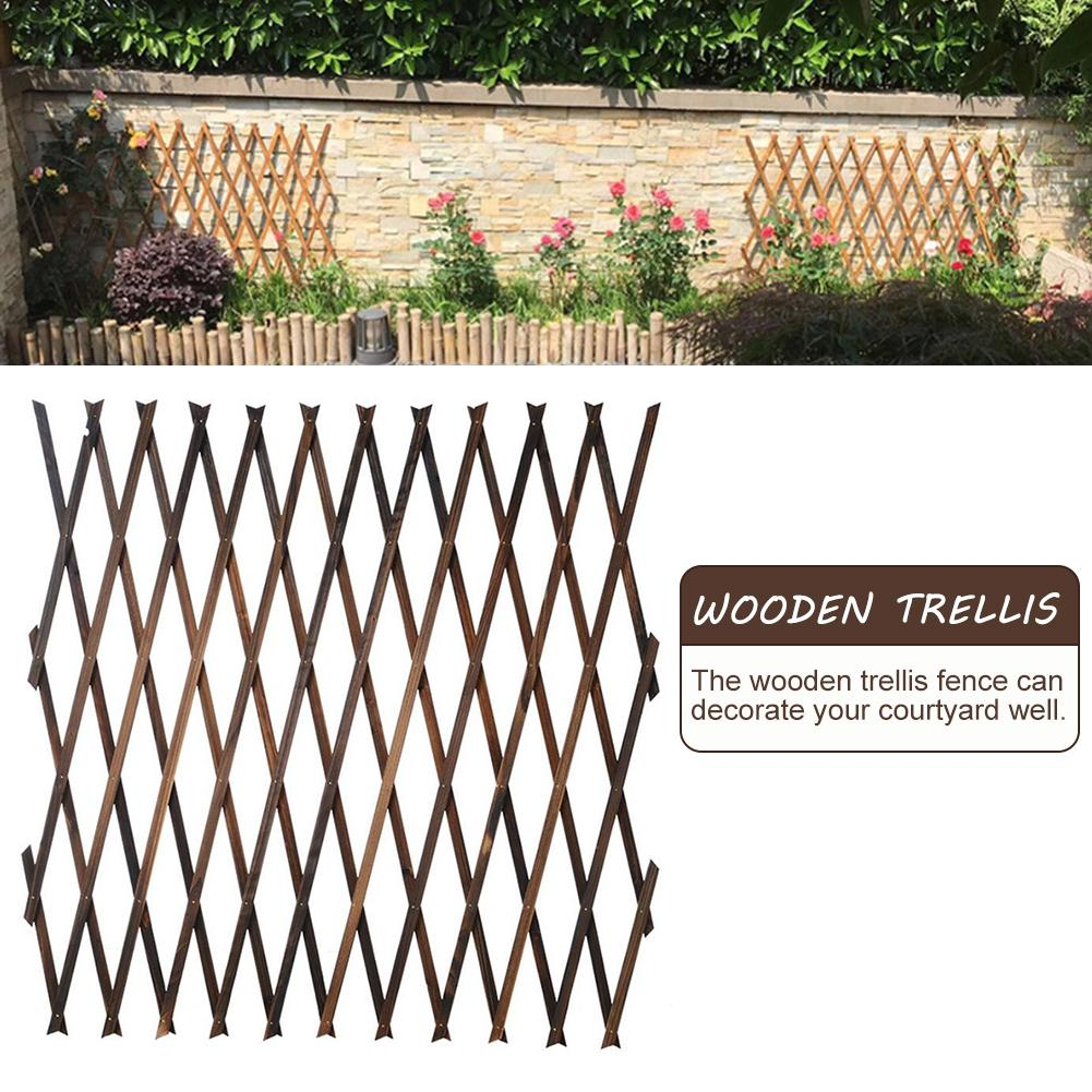 Wooden Garden Fence Stretchable Carbonized Anticorrosive Wood Garden Wall Fence Plant Climb Trellis Support Home Garden Decor