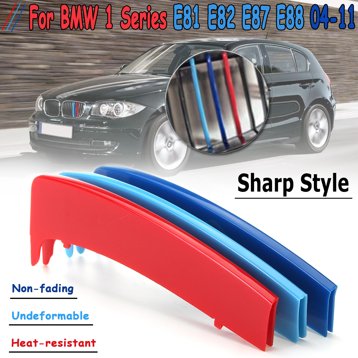 3D Sport M Style Color Grille Grill Cover Clip Trim For BMW 1 Series E81 E82 E87 E88 2004 2005 2006 2007 2008 2009 2010 2011