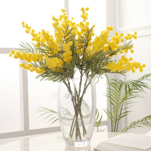 38cm White/Yellow Artificial Acacia Yellow Mimosa Plush Pudica Spray Cherry fake Silk Flower Wedding Party Decor Red Bean Plant