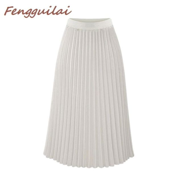 Купить женская плиссированная юбка средней длины на пуговицах однотонная картинки