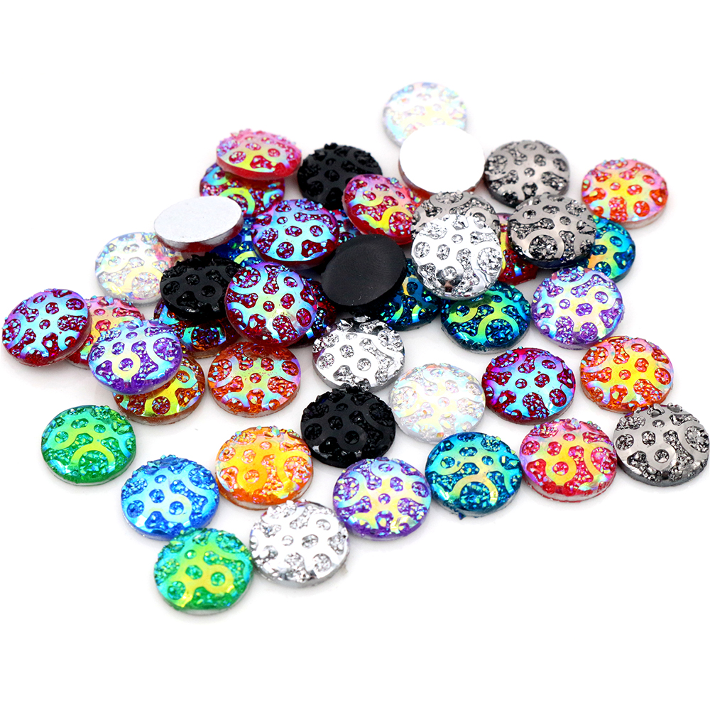 New New! 40pcs/Lot 12mm Mix AB Colors Flat Back Resin Constellation Cluster Cabochons Fit 12mm Cameo Base Cabochons-V3-09