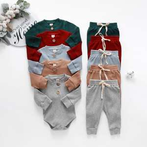Bodysuits Elastic-Pants Solid-Clothes-Sets Spring Ribbed Long-Sleeve Newborn Autumn Infant