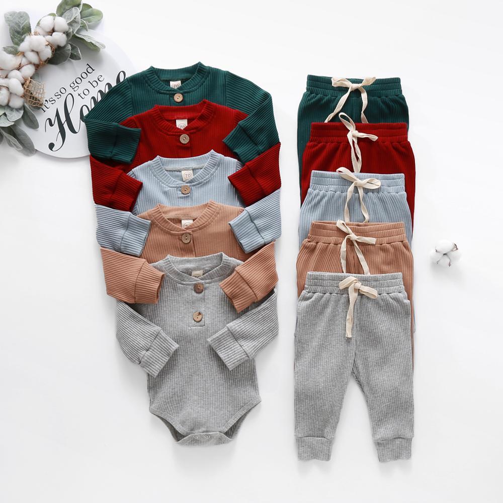 תינוקות יילוד תינוק בנות בני אביב סתיו מצולעים מוצק בגדי סטים ארוך שרוול Bodysuits + אלסטי מכנסיים 2PCs מוצק תלבושות