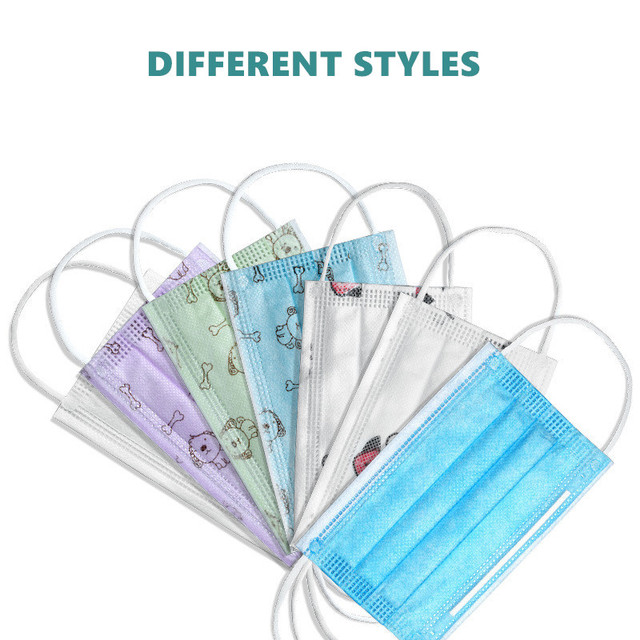 50Pcs 3 layer Disposable Elastic Mouth Soft Breathable Blue Soft Breathable Flu Hygiene Child Kids Face Mask Dropshipping 4