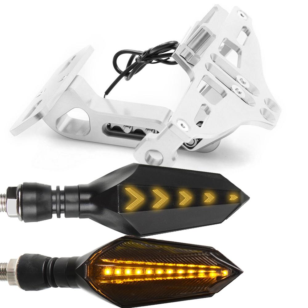 Мотоцикл номерной знак рамка держатель кронштейн с светодиодный указатель поворота мигалка для Honda CBR600 F3 F4 F4I CBR1000 RR - Цвет: Серебристый