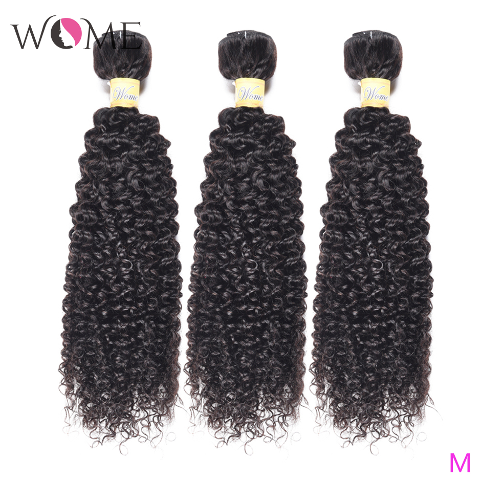 WOME Curly Hair Bundles Peruvian Human Hair 1/3/4 Bundles Natural Color 10 26 Inches Non remy Hair Weave ExtensionsHair Weaves   -