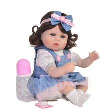 42CM lifelike reborn toddler baby silicone girl doll with long curly fashion clothes Princess children Christmas bebe