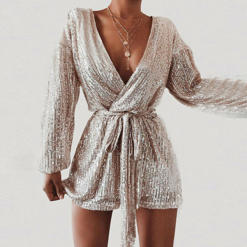 2020 Women Sequins Jumpsuit Sexy Paillette Spot Gold Silver Rompers V-neck Shorts Female Plunging Dance Evening Party Overall