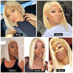 Image 3 - 613 Lace Front Wig Brazilian Short Bob Wig 180 Density Blonde Lace Front Human Hair Wigs 13*6*1 T Part Lace Wigs For Women Wigs