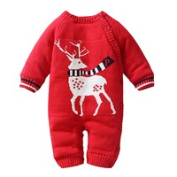 Baby Boy Girl Christmas Thicken Fleece Romper for Newborn Cartoon Christmas Deer Tree One Piece Romper Jumpsuit Knitting Outfit