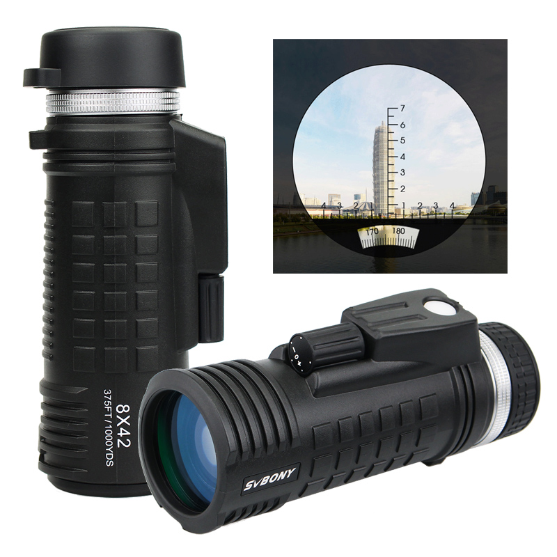 SVBONY 8x42 Monocular Telescope Built-in Compass Rangefinder Fully Multi-coating BAK4 Prism Waterproof Hunting Binoculars F9335
