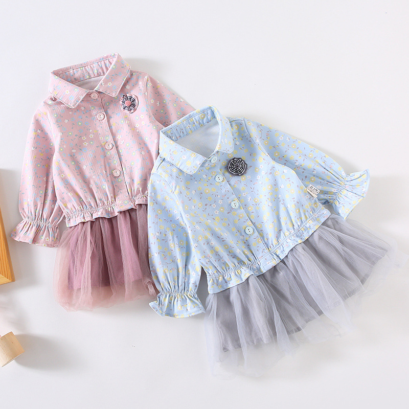 Baby Girls Dress 2019 New Style Spring And Autumn Baby Lace Skirt Children Korean-style 1-Year-Old Western Style Long Sleeve Ski