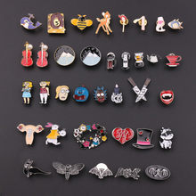 Creative Anime Cartoon Animal Brooch for Women Whale Violin Bee Denim Jackets Bag Badge Enamel Pin Brooches Kids Jewelry Gifts(China)